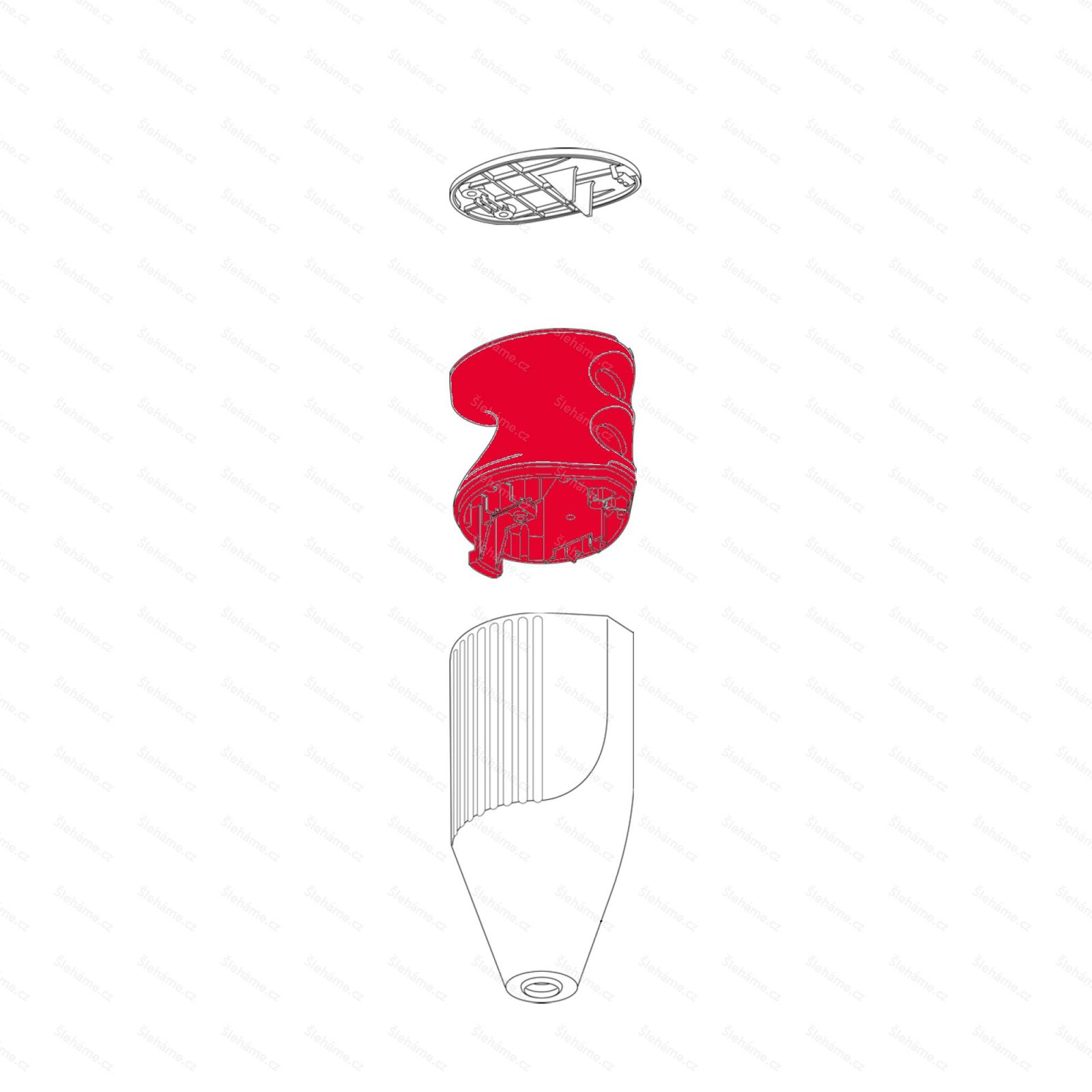 Rukojeť mixéru Bamix model C, červená metalíza